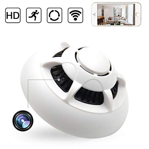 XSJQ Smoke Detector Cam,1080P WiFi Hidden Baby Monitor Motion Detection Wireless IP Indoor Baby Pet Monitor Remote Free App View Nanny Spy Cam Home Security Camera, Card Storage to 32GB (White)