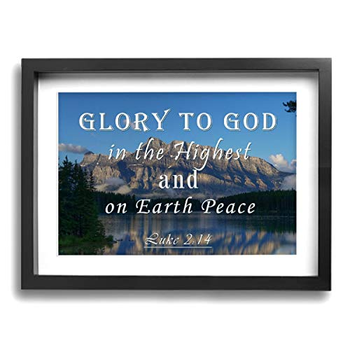 Mr.SuperArt Bible Verse Framed Wall Decor Christian Quote Wall Art Glory to God in The Highest and On Earth Peace Bible Scripture Paintings for Home Decorations - Ready to Hang Framed Paintings (Glory To God In The Highest Scripture Verse)