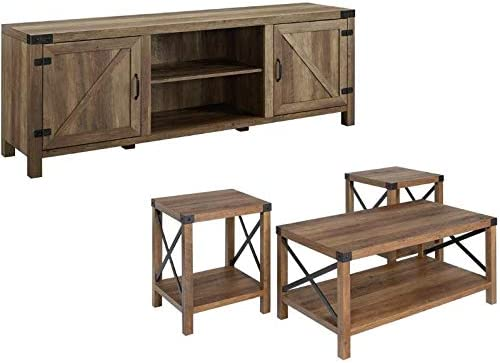 Home Square 4 Piece Farmhouse Barn Door TV Stand Console Coffee Table and 2 End Table Living Room Set