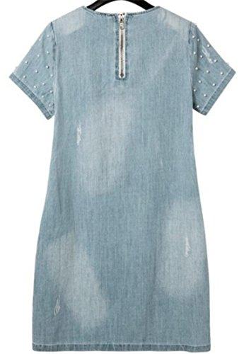 shirt In Linea Difficoltà Chiaro Donne Vestito Grande Linguetta Di Di Denim Perline Una Delle Mini T Blu xcqAc1wPCR