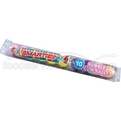 Smarties 10 Bubble Gum Ball Tube, 1.9 Ounce -- 144 per case. by Ford Gum