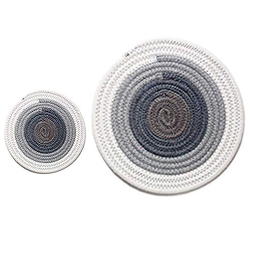 DeroTeno Set of 2 Pot Holders, Handmade Cotton Thread Weave Hot Pads, 7