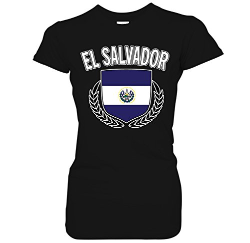 El Salvador Flag Crest Olive Wreath Laurel Juniors T-Shirt (Small Black) El Olive