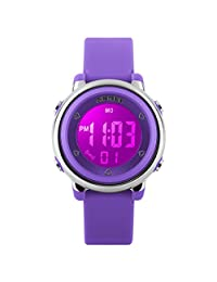 Fanmis Multifunction Digital LED Quartz Watches Water Resistant Girls Boys Outlook Sports Watch Purple