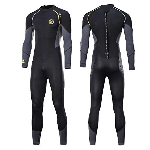zcco Ultra Stretch 3mm Neoprene Wetsuit, Back Zip Full Body Diving Suit, one Piece for Men-Snorkeling, Scuba Diving Swimming, Surfing ()