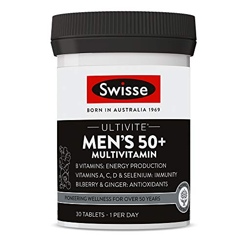 Swisse Ultivite Men's 50 Plus Daily Multivitamin Tablet | Energy & Immunity Support | Rich in Vitamins, Minerals…