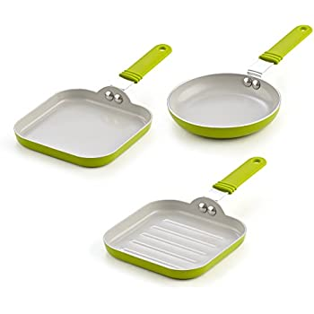 Cook N Home 02583 5.5-Inch Nonstick Ceramic Mini Fry, Griddle, Grill 3-Piece Pan Set, Green