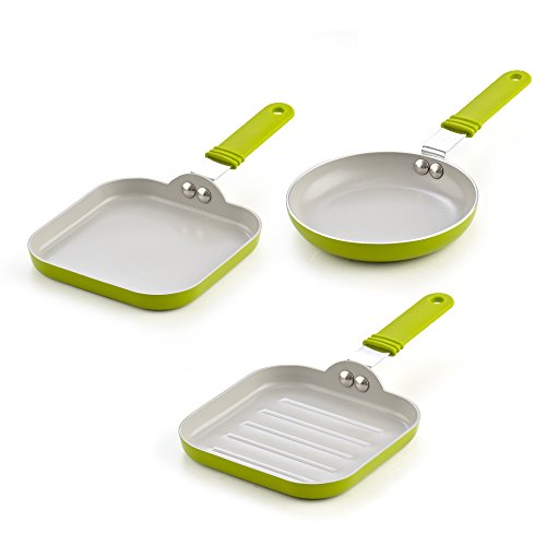 - Cook N Home 02583 5.5-Inch Nonstick Ceramic Mini Fry, Griddle, Grill 3-Piece Pan Set, Green