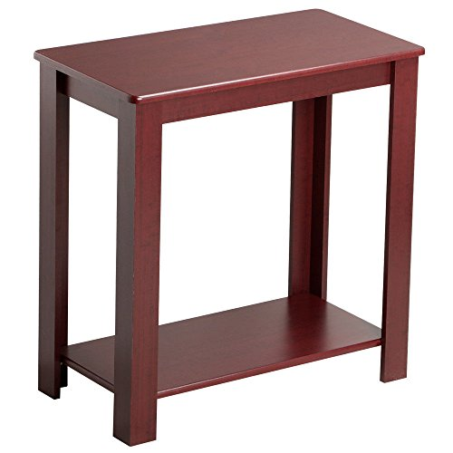 Eight24hours Rustic Wooden Chair/Sofa Side Coffee End Table with Lower Shelf, Dark (Under Bed Tv Lift Mechanism)