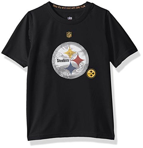 "NFL Boys 4-7 ""Carbon Logo"" Performance Short Sleeve Tee-Black-S(4), Pittsburgh Steelers"