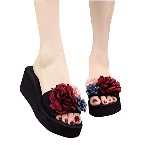 Femmes Flops Curseurs Chaussons 6cm Été Soirée Pantoufles Enfiler Chaussures Plateau Flip Bout Plat Vacances Plage Ouvert Détente Post Tongs Rouge Sandales Femme À Tenthree wX5aFxn