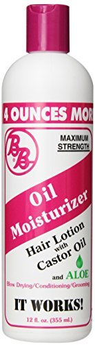 BB Oil Moisturizer, Hair Lotion With Castor Oil and Aloe, Maximum Strength, 12-Ounce Bottles (Pack of 6) by BB (12 Hair Oz Bottle Lotion)