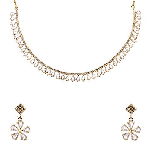 Zeneme Gold Plated American Diamond Necklace with Earrings Jewellery for Women & Girls