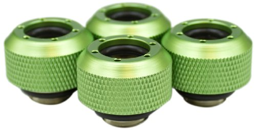 UPC 897337038079, PrimoChill Rigid Revolver Compression Fitting - Diamond Knurled Grip - For 3/8in. ID x 1/2in. OD Tubing (4 pack), Anodized Green