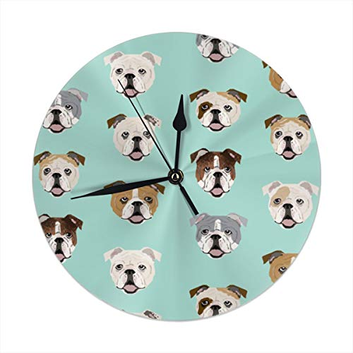 (monogram doormat English Bulldog Faces Round Wall Clock for Home,Office,School Decorative Battery Operated 9.84 Inch )