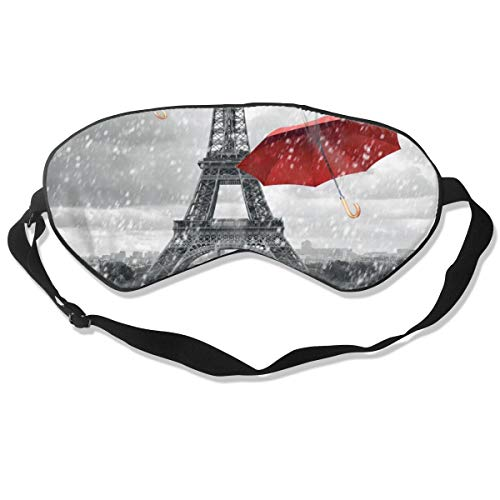 Unisex Sleeping Eye Mask Retro Cityscape Paris Eiffel Tower with Red Umbrella Eye Mask Cover with Adjustable Strap Blindfold Eyemask for Travel,Nap,Meditation (Umbrella Ivy)
