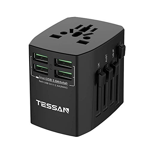 International Power Adapter, Universal Travel Plug with 4 USB and 1 Worldwide AC Socket for European UK Australian Germany China Japan 160+ coutries - Black