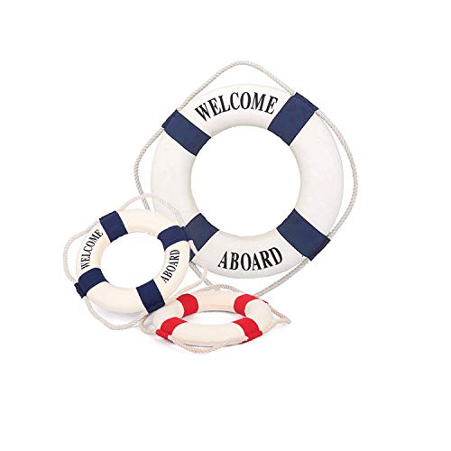 Szsrcywd Decor Life Ring, 3 PCS Welcome Aboard Life Ring Mixed Size Mediterranean Style Nautical Life Ring for Home Decoration (Red and Blue) ()