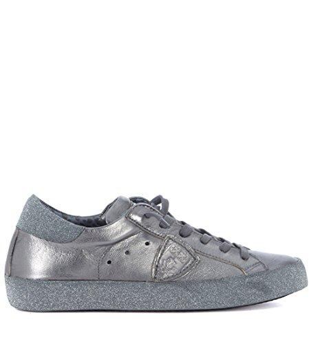 Philippe Model Sneaker Paris metallisiertes Leder Silber und Glitter Grau