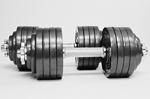 Omnie 105 LBS Adjustable Dumbbells with Gloss Finish and Secure Fit Collars(Pair) by Omnie