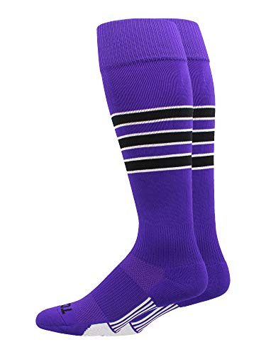 (MadSportsStuff Dugout 3 Stripe Baseball Socks (Purple/Black/White, X-Large))