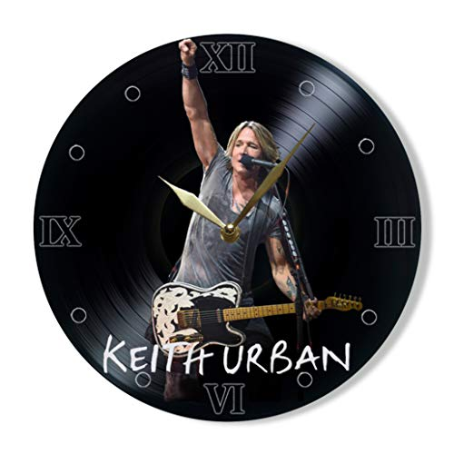 Keith Urban Vinyl Clock Painted - Wall Clock Keith Urban Country Music Singer - Best Gift for Country Music Lover - Original Wall Home Decor ()