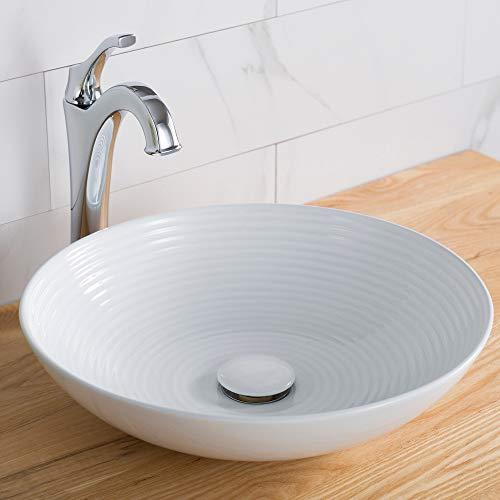 Kraus KCV-203GWH Ceramic Above counter Round Bathroom Sink, 16.5 x 16.5 x 4.38 inches, White