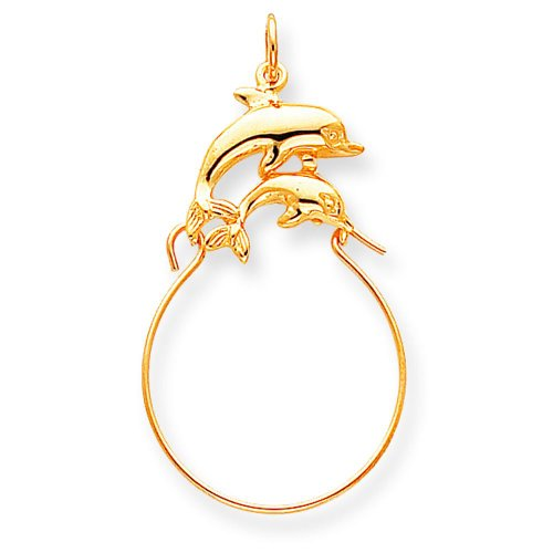10K Yellow Gold Double Dolphin Charm Holder Jewelry ()