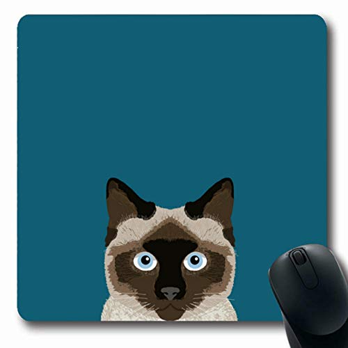 Ahawoso Mousepads Siamese Cat Cute for Lady Oblong Shape 7.9 x 9.5 Inches Oblong Gaming Mouse Pad Non-Slip Rubber Mat (Monk Mouse Pad)