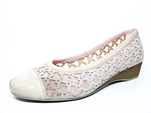 Beige manoletina Zapato de en cu mujer piel a marca 508 Beige rejilla nobuk y color Beige la PITILLOS 3301 1ZwqRf