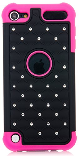 iPod Touch, Hybrid Luxurious Lattice Dazzling Bling Bling Dual Layer Combo Case for Apple iPod Touch 6th Gen 5th Gen by iSee Case (Black on Pink)