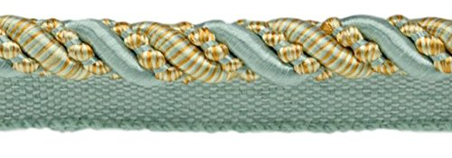 DÉCOPRO 9 Yard Value Pack of Large 7/16 inch Silver Blue, Gold, Off-White, Noblesse Collection Lip Cord Style# 0716H Color: Island Breeze - 5939 (27 Ft / 8 Meters) by DÉCOPRO