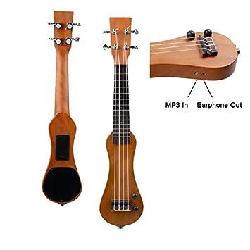 Ukelele eléctrico Mini forma de cacahuete con auriculares MP3 en y fuera eléctrico Reino Unido guitarra: Amazon.es: Instrumentos musicales