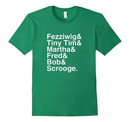 Mens Charles Dickens' A Christmas Carol Character List T-Shirt 2XL Kelly Green