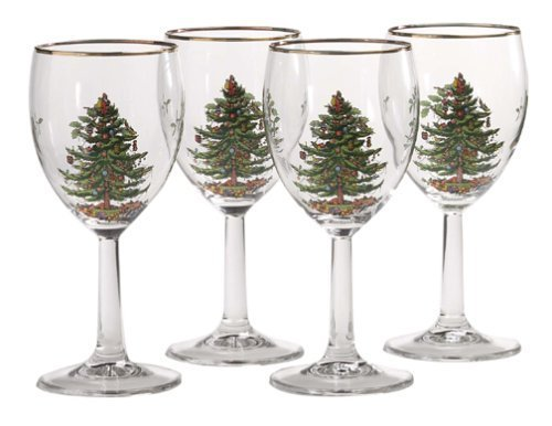 Spode Christmas Tree 13-Ounce Wine Goblets with Gold Rims, Set of 4 by Spode