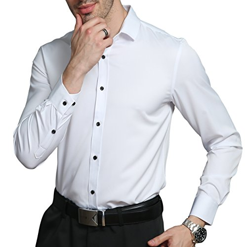 Mens Combination Suit - LiberalApp Men's Bamboo Fiber Solid Color White Long Sleeve Slim Casual Business Combination Button Shirt,16.5
