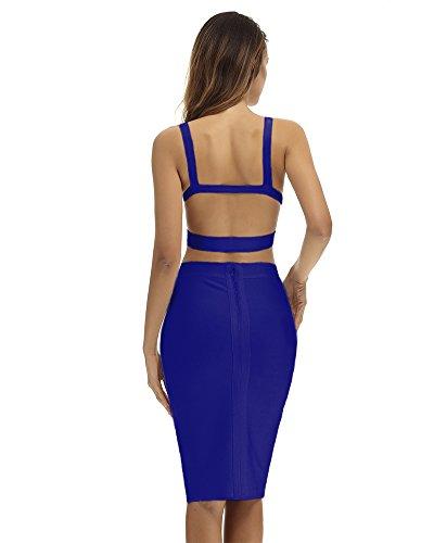Whoinshop Damen Zweiteilig Bodycon Kleid 2 teiler ärmellos Bandage ...