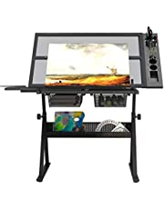 sogesfurniture Height and Angle Adjustable Drawing Table Drawing Desk Craft Station Drafting Table with 2 Storage Drawers and One Side, for Writing Art Craft Work Station, BHCA-CZKLD-027-NEW