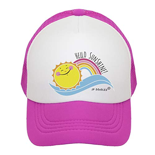 JP DOoDLES Hello Sunshine and Rainbow on Kids Trucker Hat. Available in Baby, Toddler, and Youth Sizes. (HOT Pink-Hello Sunshine, Kiddo 2-5 YRS)