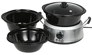 Hamilton Beach 33135 3-in-1 Slow Cooker with 2-, 4-, and 6-Quart Crocks, Stainless Steel