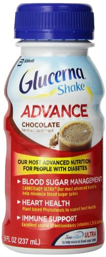 Glucerna Advance Shake, Chocolate, 8-Ounce, 8 Fl Oz (Pack of 4) - Omega Smart Nutrition Bar