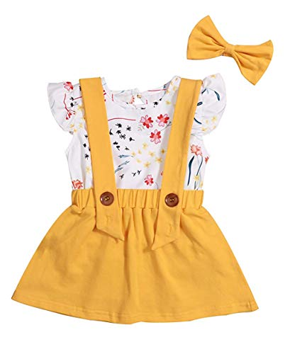 Toddler Girls Outfits 3pcs Baby Romper Clothes Set Girl Floral Jumpsuit+Strap Skirt Outfits (Yellow, 24 Months)