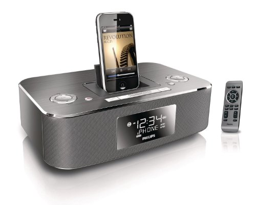Philips DC290B/37 30-Pin iPod/iPhone Alarm Clock Speaker Dock (Aluminum) (Discontinued by Manufacturer) by Philips