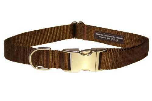 Sassy Dog Wear 13-20-Inch Brown Nylon/Aluminum Buckles Dog Collar, Medium