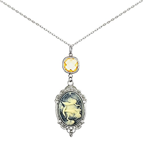 Crystal Cameo Pendant (Brilliant Crystal Necklace Sweet Cameo Pendant 2 Chains Gift Jewelry (Mermaid))