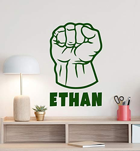 Personalized Hulk Fist Wall Decal Custom Boy Name Logo Superhero Sign Poster Gift Kids Bedroom Decor Vinyl Sticker Playroom Wall - Made in USA-Fast ()