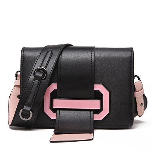 Trend New Long Tongue Bag Lady Shoulder Messenger Bolso Multifunción Black