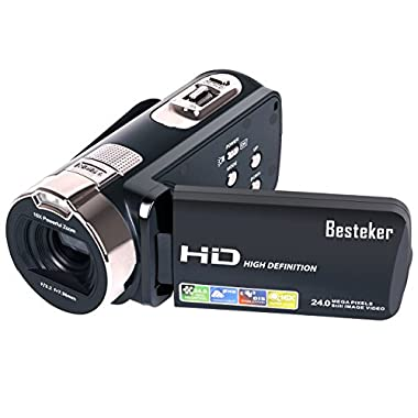 Camera Camcorders, Besteker Portable 1080P 24MP 16X Digital Zoom Video Camcorder with 2.7  LCD and 270 Degree Rotation Screen