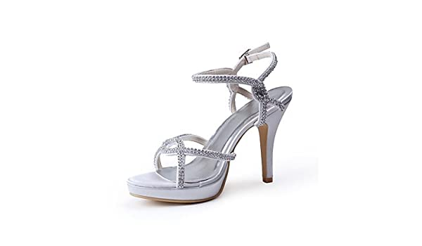 5057ca0d9d1a Amazon.com  Wuyulunbi  Tasteful Satin Peep Toe High Heel Pumps With Rhinestone  Wedding Shoes