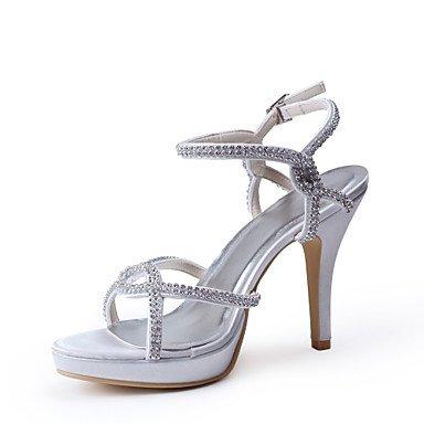Wuyulunbi@ Satén Elegante Peep Toe De Tacón Alto Bombas Con Estrás Wedding Shoes,Gris,Us5.5 / Ue36 / Uk3.5 / Cn35